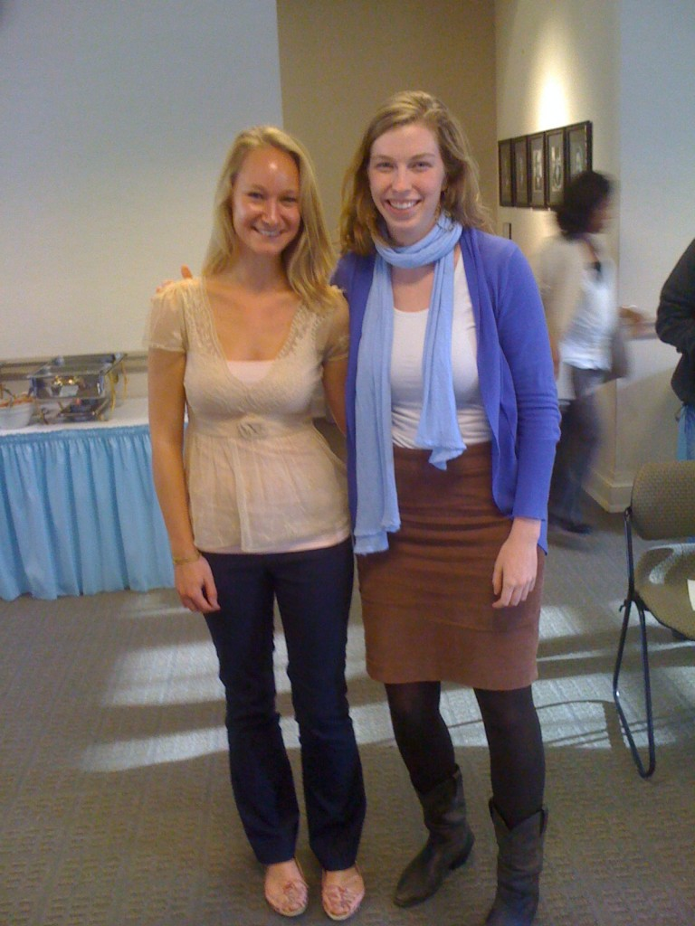 Kelsey Ludwig (Previous undergraduate and RA, now current Graduate Student) with friend upon receiving travel award