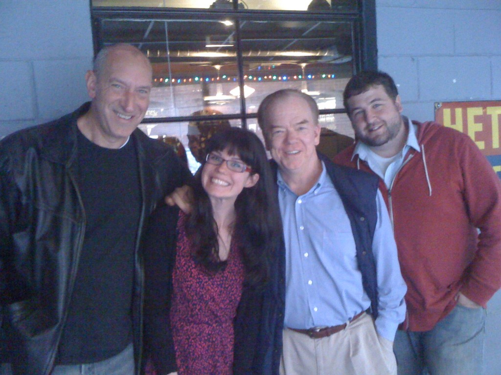 Claire Marks-Gibson Dissertation Party (pictured left to right: Dr. David Penn, Claire Marks-Gibson, Dr. Cort Peterson, and Claire's Husband)
